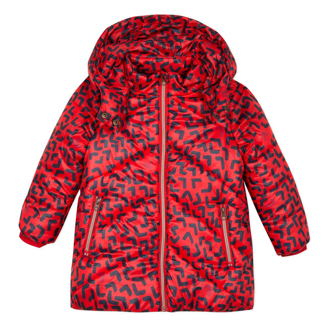 Mid-length satin finish puffa jacket with abstract print