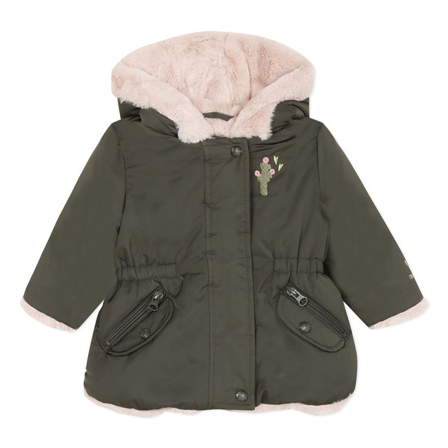 Coated parka with visual back