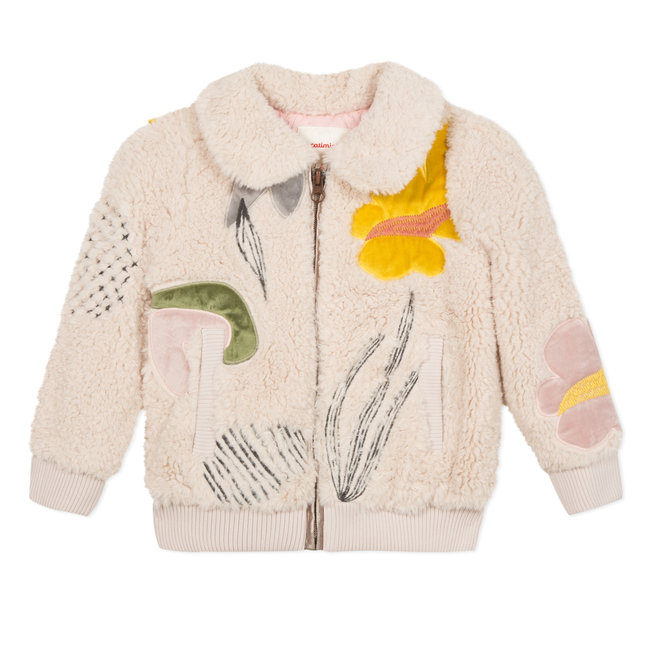 Faux fur bomber jacket with velvet and embroidered motifs