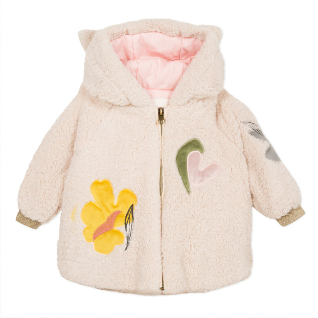 Faux fur fleece coat with hood