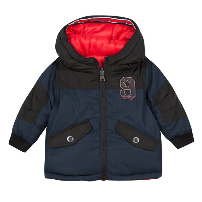 Reversible navy blue and red jacket