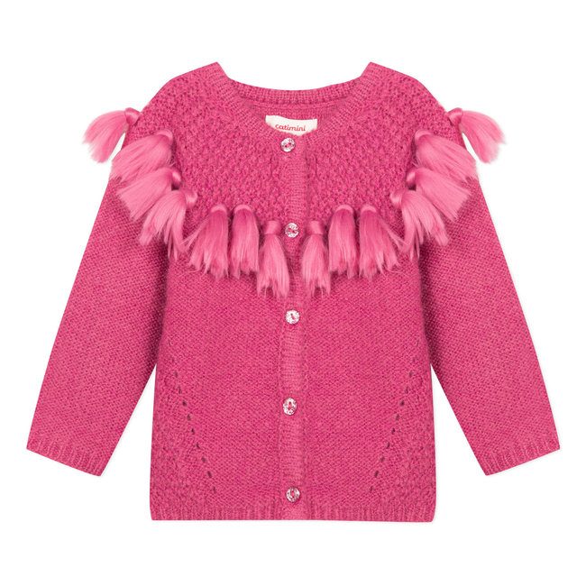 Raspberry pink soft cardigan with pompoms