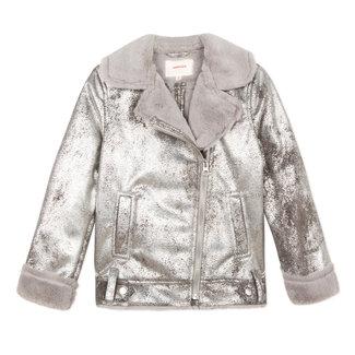 Biker jacket in silver shearling