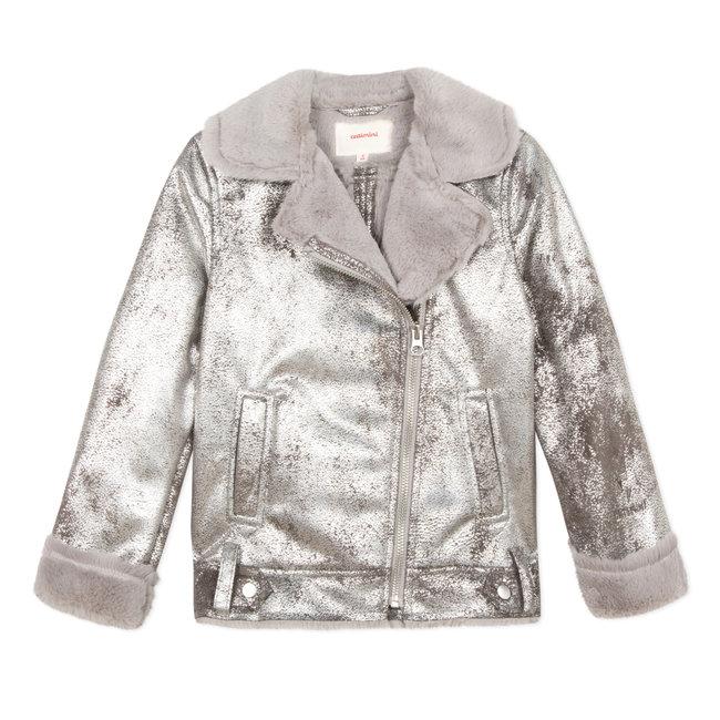 CATIMINI Biker jacket in silver shearling