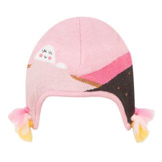 Knit hat with simple landscape