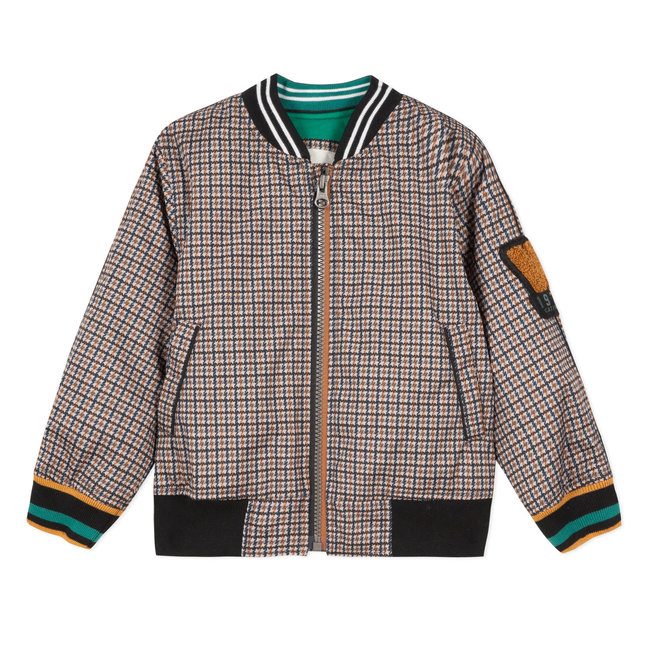 Reversible teddy bomber jacket with a check and green jersey coated finish
