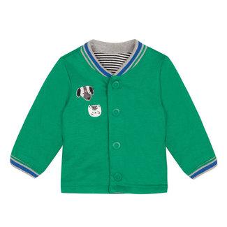 CATIMINI Green rib knit striped reversible jersey gilet