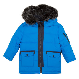 Blue coated parka with hood
