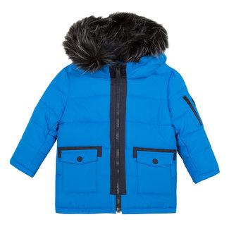 Blue coated parka with hood