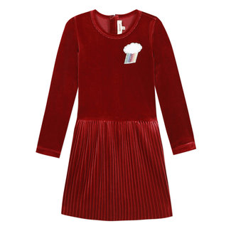 Cherry red dress in pleated crushed velvet