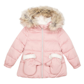 Powder pink puffa jacket with hood and mittens