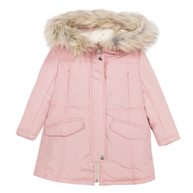 Powder pink coated and fur-lined coat