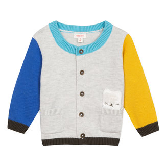 Colourblock cardigan with llama pocket