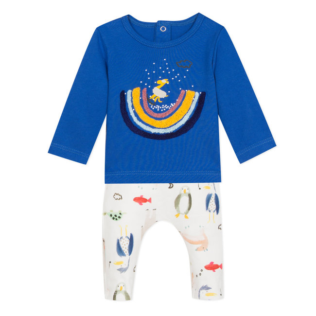 CATIMINI Blue jersey T-shirt and watercolour print trousers