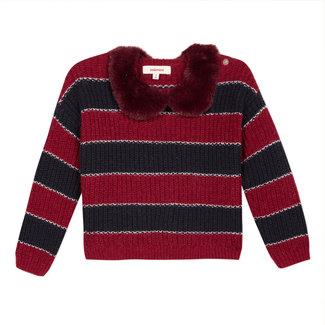 CATIMINI Striped jumper with a detachable fur collar