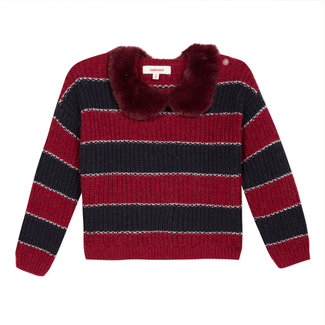 Striped jumper with a detachable fur collar