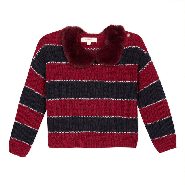 CATIMINI Striped jumper with a detachable fur collar