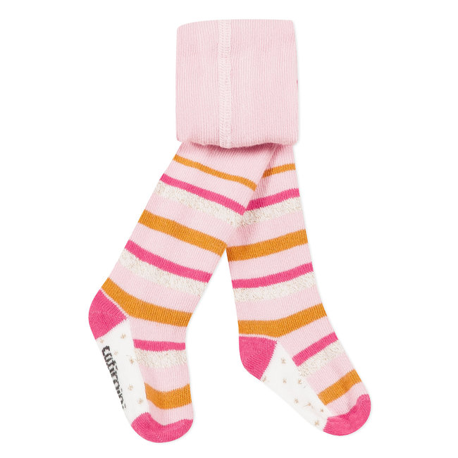 Pink tights with multicolored stripes