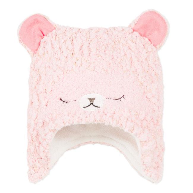 Pink sparkling knit hat