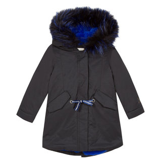 Black coated parka with blue fur