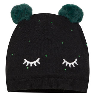 GIRLd black knitted hat with pompoms