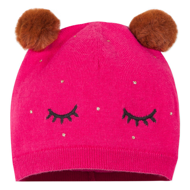 Lined fuchsia knitted hat with pompoms