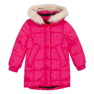 Fuchsia puffa coat with fur collar