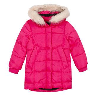 Fuchsia puffa coat with fur collar