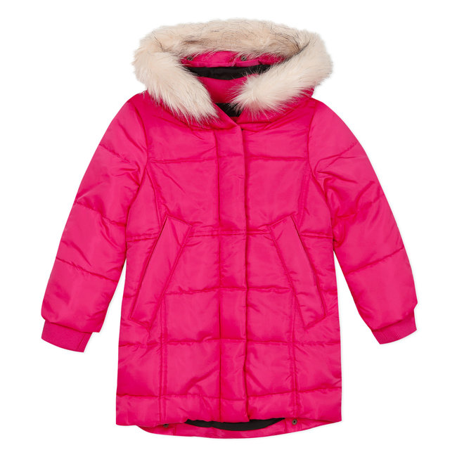 CATIMINI Fuchsia puffa coat with fur collar