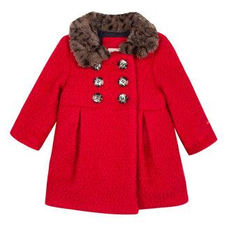 CATIMINI Fancy red wool coat with fur collar