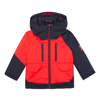 Two-tone coated parka with hood