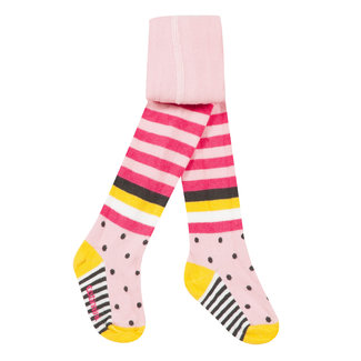 Pink tights with multicoloured stripes