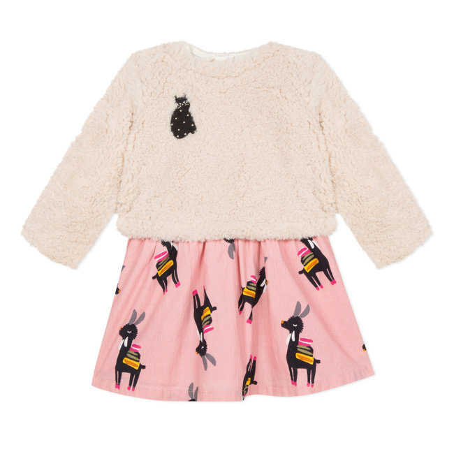 Llama print bi-material  dress and fur sweatshirt