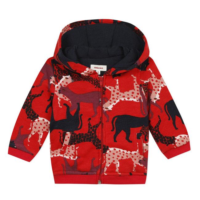 Zipped fleece sweatshirt with panthers print