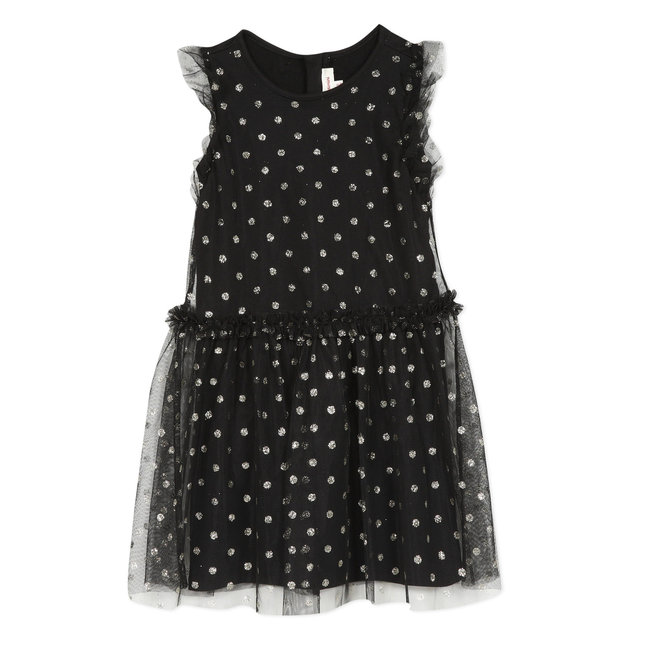 Structured tulle dress printed with sequined dots
