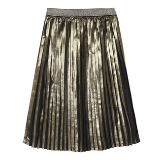 Gold-coated long pleated skirt