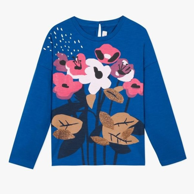 Royal blue T-shirt with floral pattern