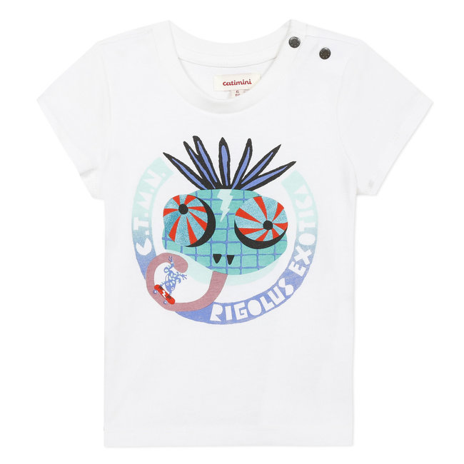 Baby boy's T-shirt with printed chameleon motif
