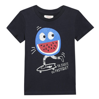 Boy's black T-shirt with motif