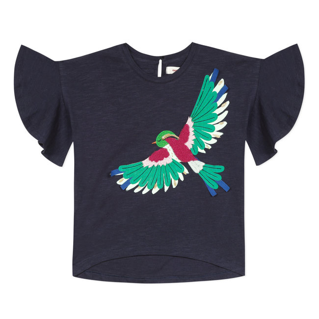 Girl's T-shirt with 3D bird motif