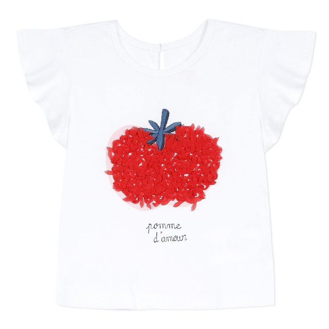 Baby girl's T-shirt with 3D apple motif
