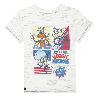 Boy's striped-effect jersey T-shirt with motifs