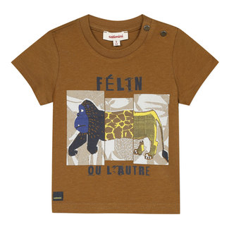 Baby boy's T-shirt with earth brown savannah motif