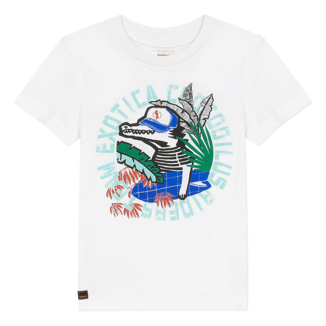 CATIMINI Boy's white T-shirt with crocodile motif