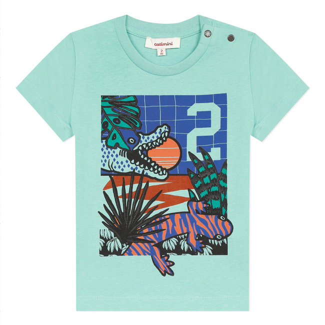 CATIMINI Boy's green T-shirt with crocodile motif