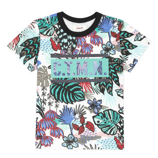 Boy's printed T-shirt with leaf pattern
