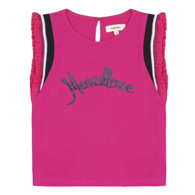 Girl's jersey tank top with crochet braid