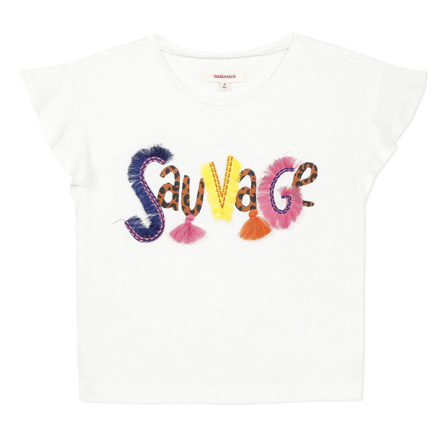 Girl's cropped T-shirt with 3D motif