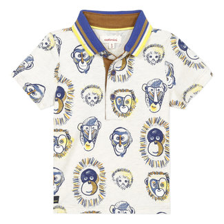 Baby boy's marl jersey polo shirt with monkeys print