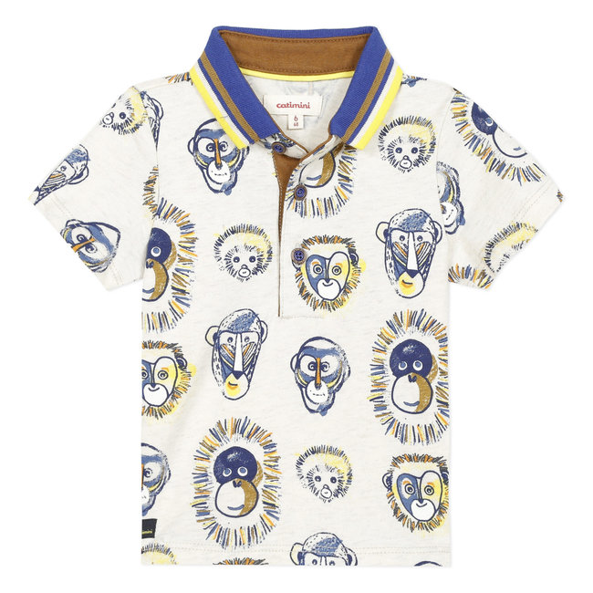 CATIMINI Baby boy's marl jersey polo shirt with monkeys print